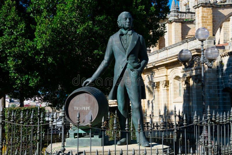Estatua de Manuel Maria Gonzalez Angel Estatua de Tio Pepe foto de archivo