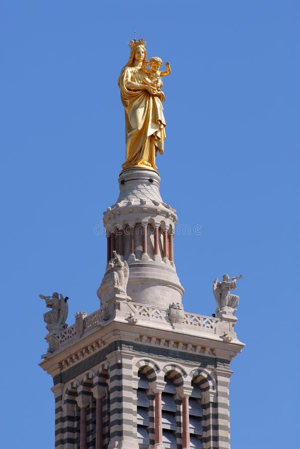 Estatua de Maria y del niño en Marsella fotos de archivo libres de regalías