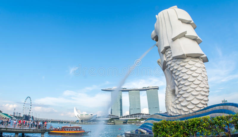 Estatua de Merlion en Singapur imagen de archivo
