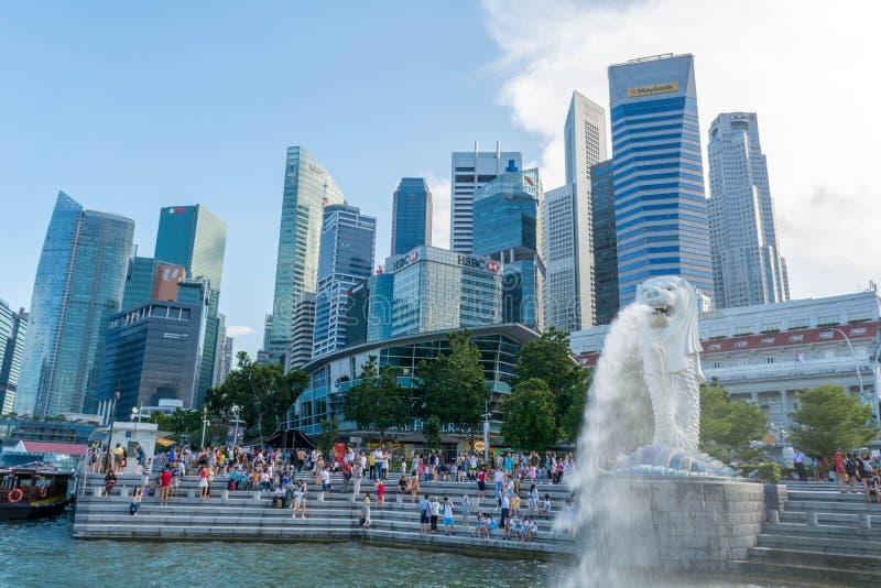 Estatua de Merlion en Singapur fotos de archivo