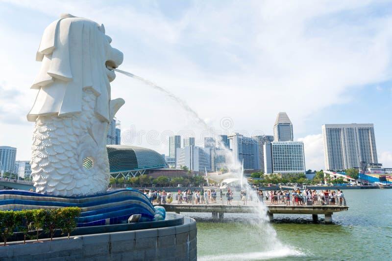 Estatua de Merlion en Singapur fotografía de archivo libre de regalías