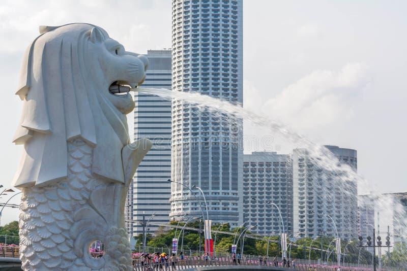 Estatua de Merlion en Singapur imagen de archivo libre de regalías
