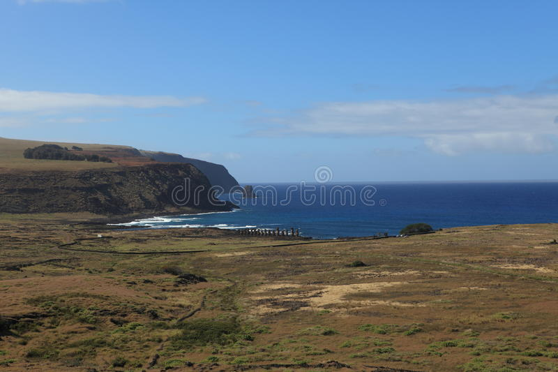 Estatua de Moai en la isla de pascua imagen de archivo libre de regalías
