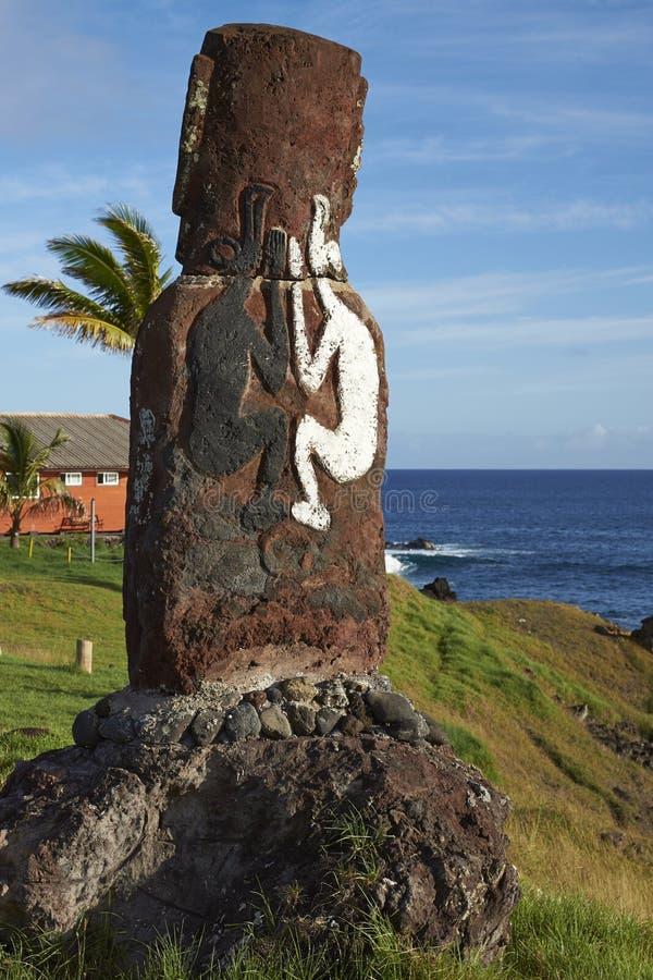 Estatua de Moai, isla de pascua, Chile imagen de archivo
