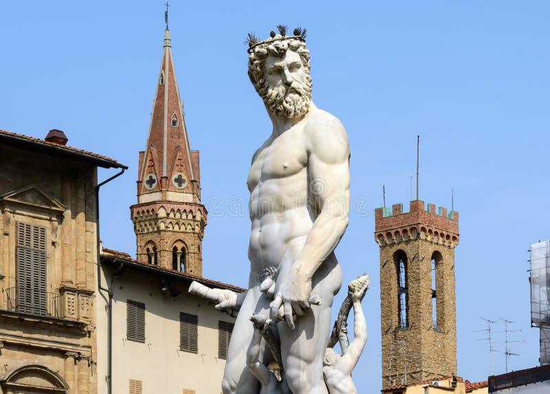 Estatua de Neptuno, della Signoria, Florencia (Italia) de la plaza foto de archivo libre de regalías