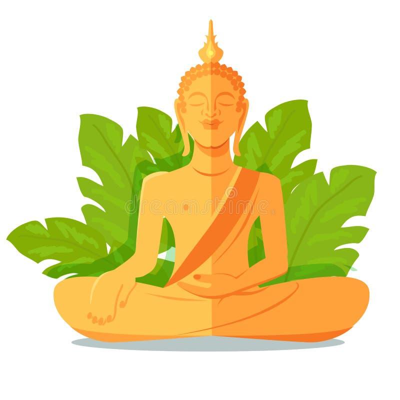 Estatua de oro de Buda delante de las hojas grandes verdes libre illustration