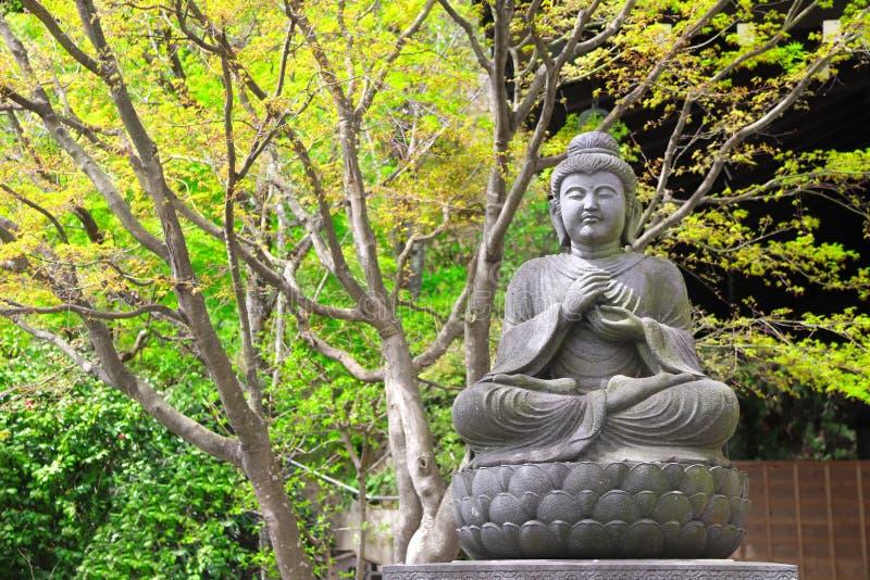 Estatua de piedra de meditar a Buda, Kamakura, Japón fotos de archivo libres de regalías