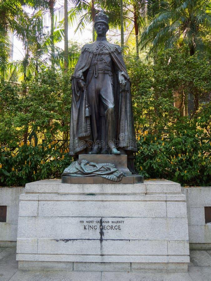 Estatua de rey George VI en Hong Kong Zoological y jardines botánicos imágenes de archivo libres de regalías