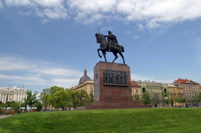 Estatua de rey Tomislav en Zagreb imagen de archivo