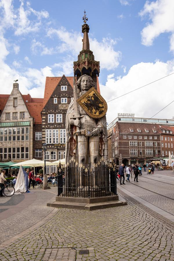 Estatua de Rolando en Bremen, Alemania fotografía de archivo libre de regalías