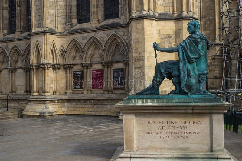 Estatua de Roman Emperor Constantine el grande, ciudad de York, Reino Unido foto de archivo libre de regalías