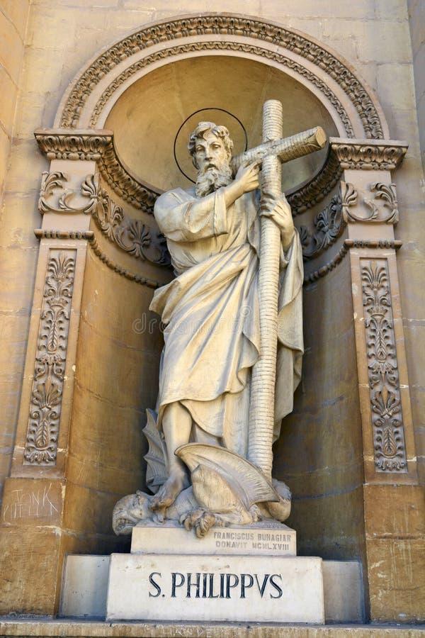 Estatua de S Phillip en la bóveda de Mosta imágenes de archivo libres de regalías