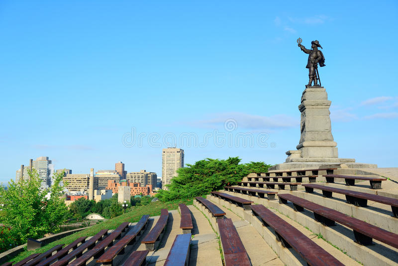 Estatua de Samuel de Champlain fotografía de archivo