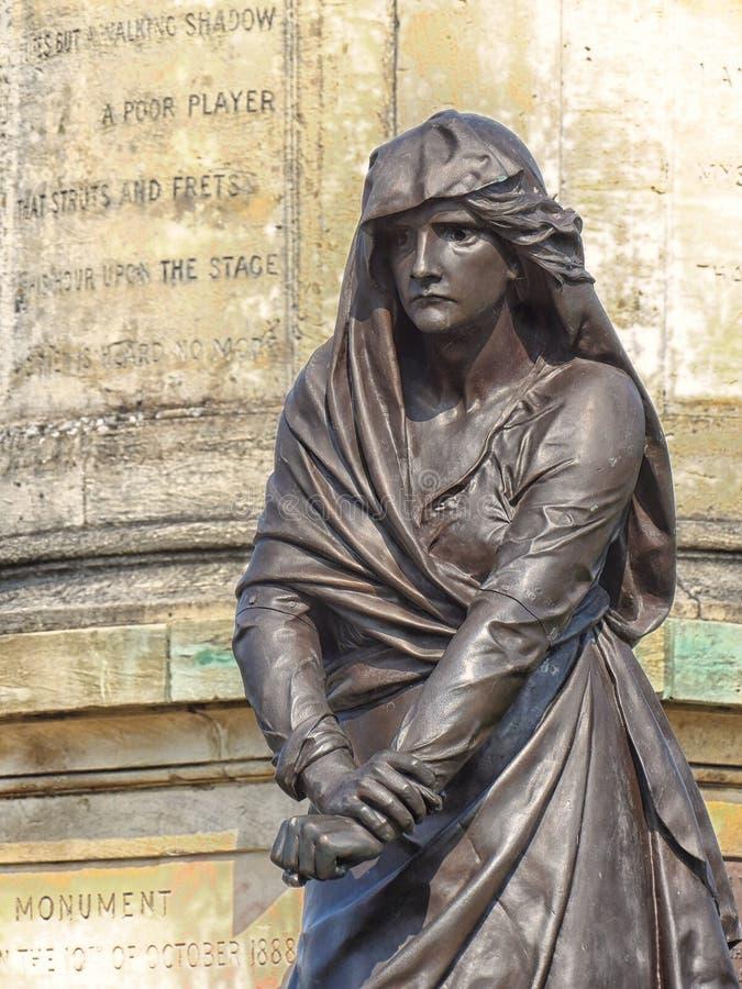 Estatua de señora Macbeth en el stratford sobre avon imagen de archivo