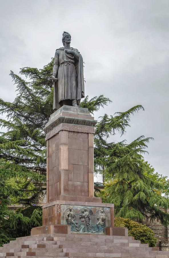 Estatua de Shota Rustaveli, Georgia foto de archivo libre de regalías