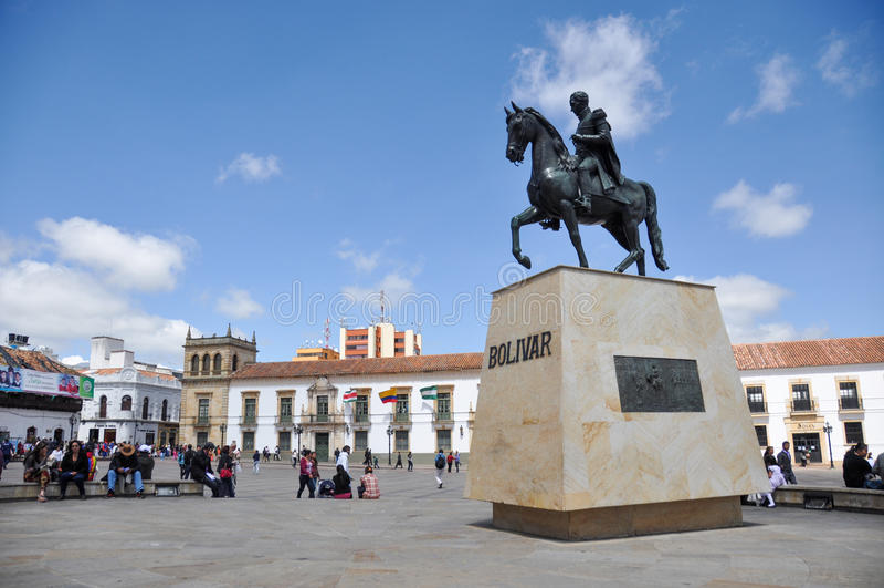 Estatua de Simon Bolivar en Tunja, Boyaca, Colombia foto de archivo libre de regalías