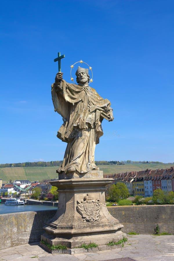 Estatua de St John Nepomuk en Wurzburg, Alemania. imagen de archivo libre de regalías