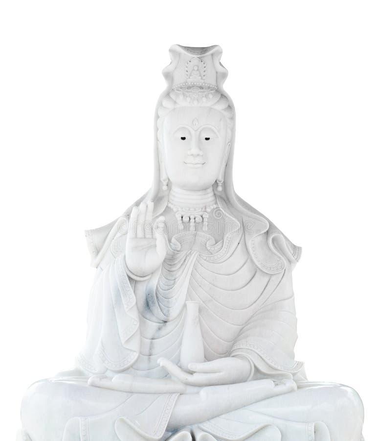 Estatua de talla de piedra de Kuan Yin del jade blanco imagenes de archivo
