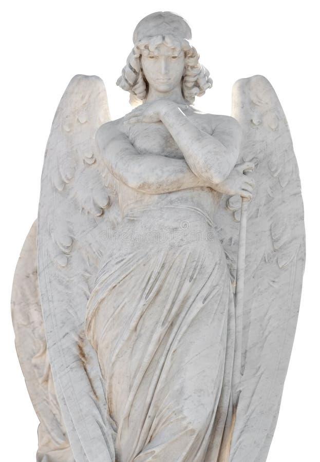 Estatua de un ángel hermoso aislado en whi fotos de archivo libres de regalías
