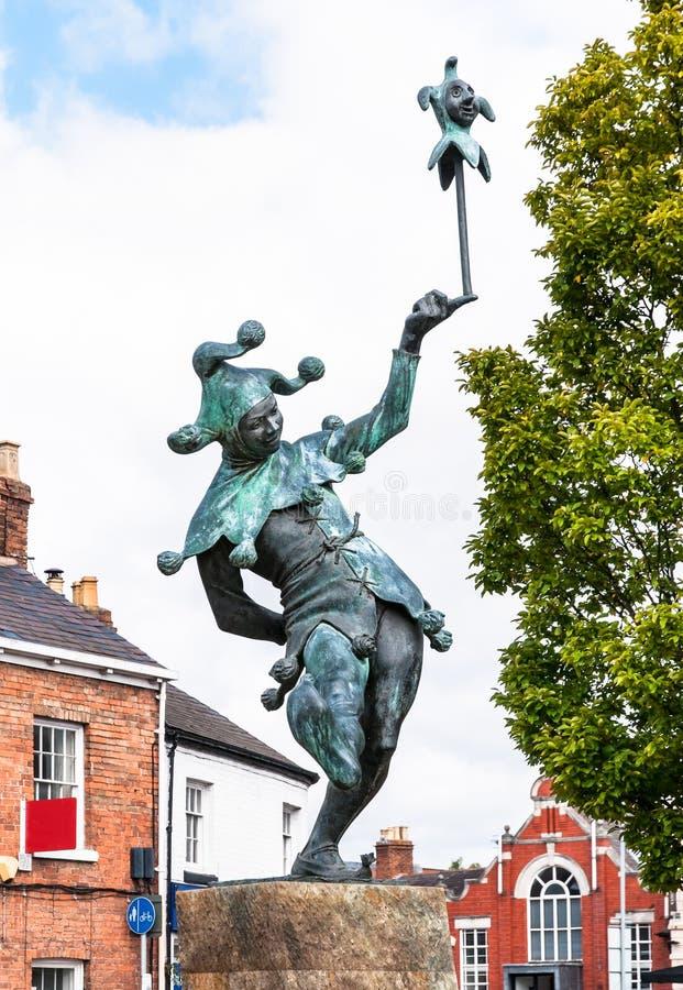 Estatua del bufón en Stratford-sobre-Avon adentro, Inglaterra imagenes de archivo