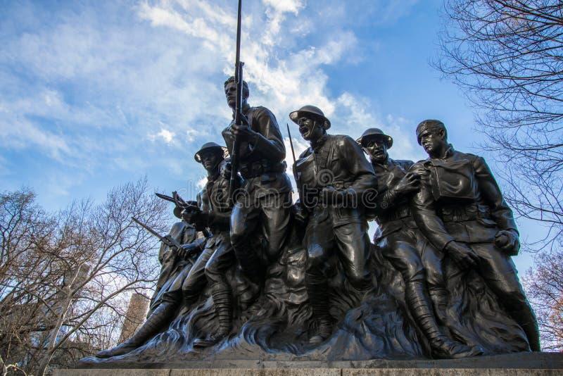 Estatua del Central Park del regimiento del séptimo del ` s de Nueva York 107a infantería de Estados Unidos imágenes de archivo libres de regalías
