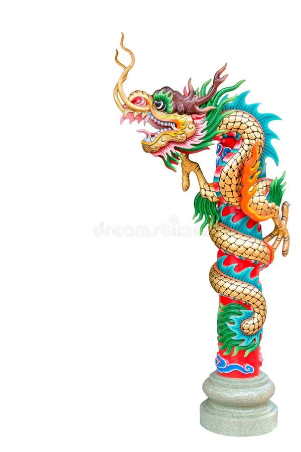 Estatua del dragón aislada en el fondo blanco stock de ilustración