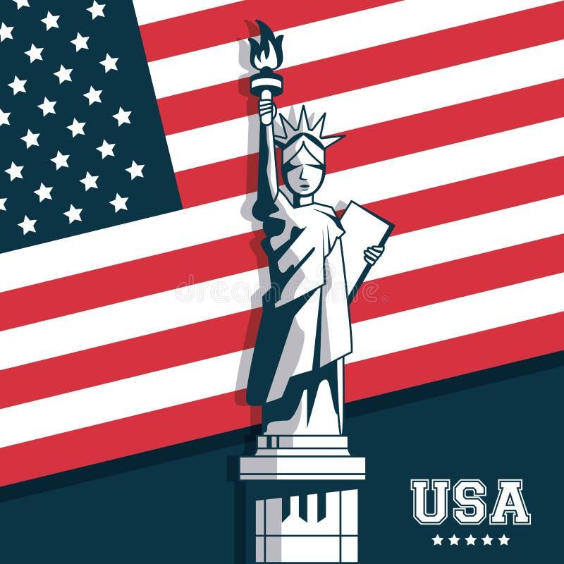 Estatua del emblema de la bandera de Estados Unidos los E.E.U.U. de la libertad ilustración del vector
