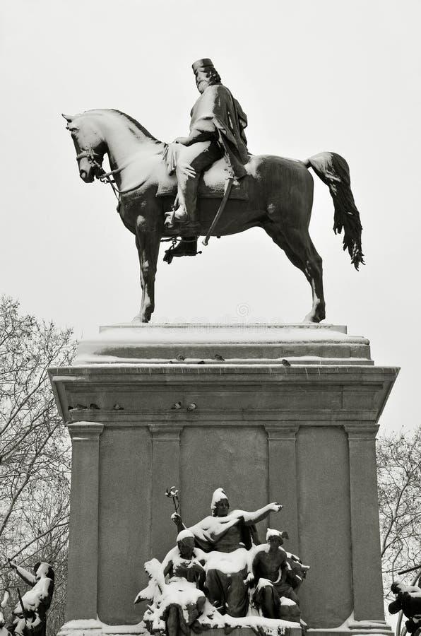 Estatua del equestrian de Garibaldi fotografía de archivo