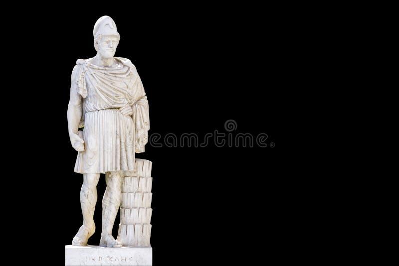 Estatua del fondo de Pericles_black del griego cl?sico fotos de archivo libres de regalías