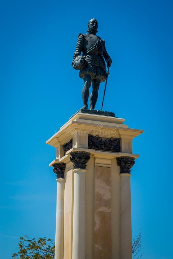 Estatua del fundador Rodrigo de Bastidas de la ciudad adentro imagen de archivo libre de regalías