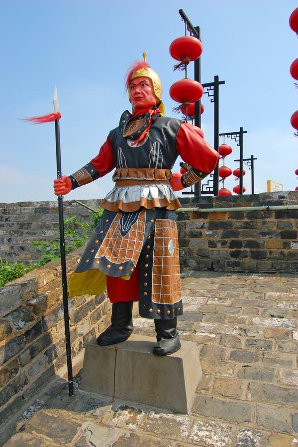 Estatua del guardia en la pared de Nanjing City, Nanjing, China imagen de archivo libre de regalías