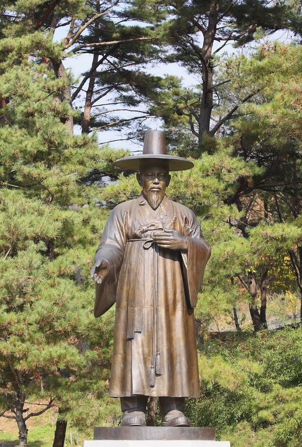 Estatua del hierro del oficial confuciano. Edades Medias Asia fotografía de archivo libre de regalías