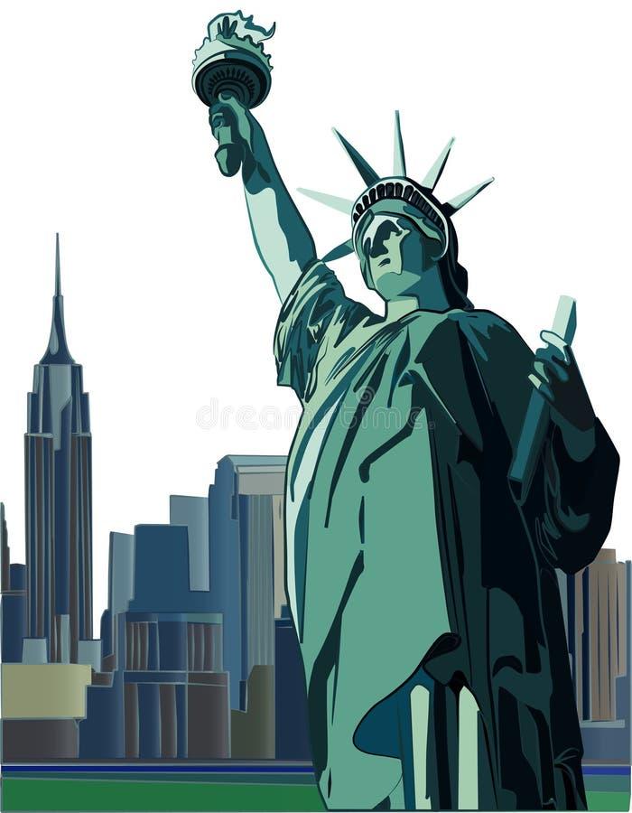 Estatua del horizonte de la libertad y de New York City, ejemplo del vector ilustración del vector