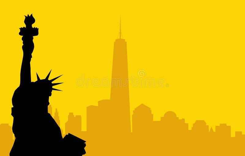 Estatua del horizonte-vector de la libertad y de Nueva York ilustración del vector
