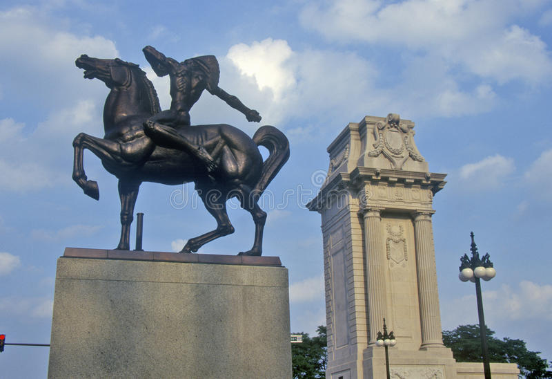 Estatua del indio en el caballo, Grant Park, Chicago, Illinois fotografía de archivo libre de regalías
