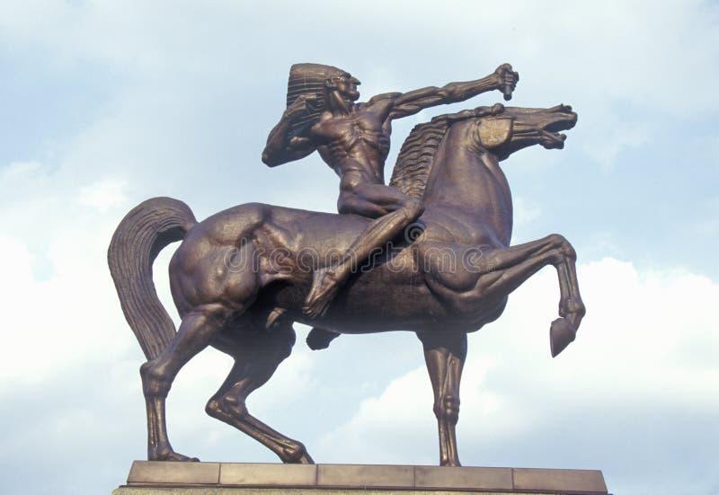 Estatua del indio en el caballo, Grant Park, Chicago, Illinois fotos de archivo