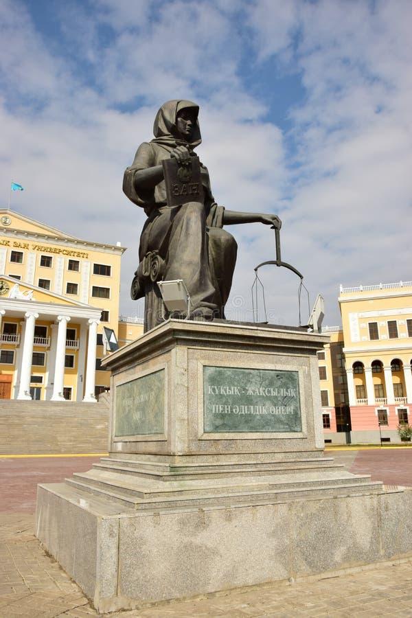 Estatua del Kazakh FEMIDA en Astaná, Kazajistán fotografía de archivo libre de regalías