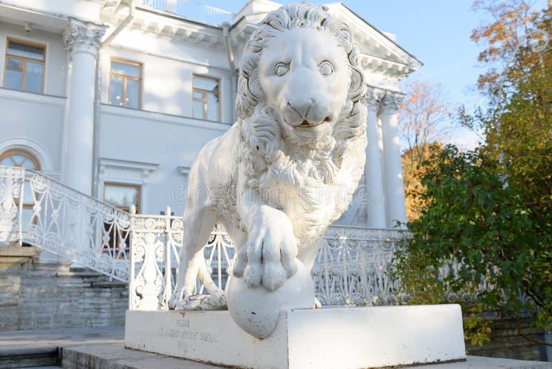 Estatua del león delante del palacio de Yelagin, St Petersburg fotos de archivo