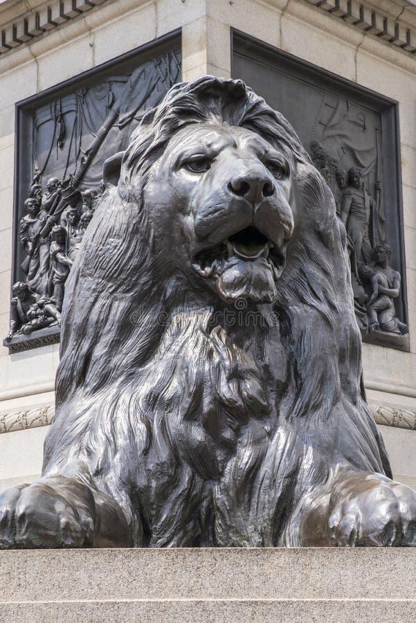 Estatua del león en el cuadrado de Trafalgar foto de archivo