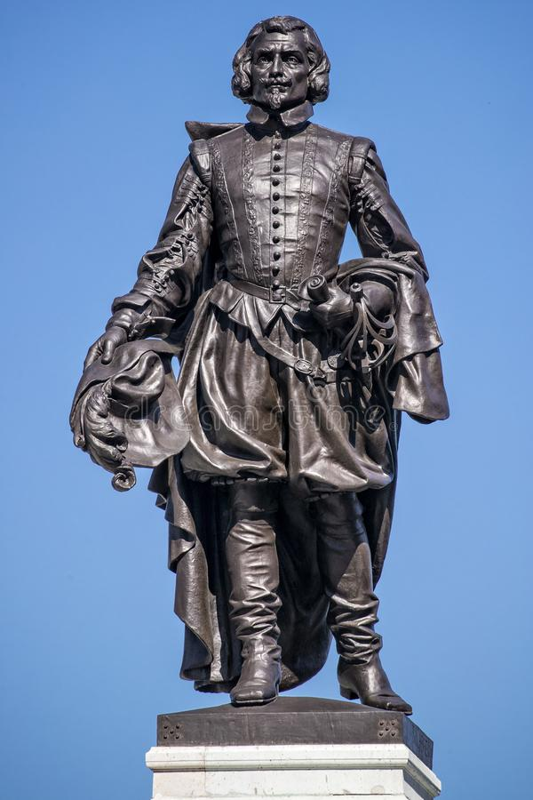 Estatua del monumento de Samuel de Champlain imagenes de archivo