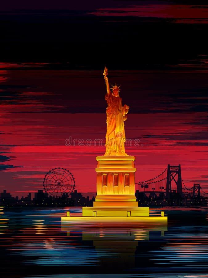 Estatua del monumento histórico famoso de la libertad de los Estados Unidos de América stock de ilustración