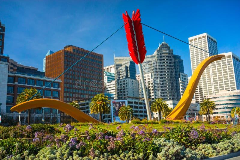 Estatua del palmo del cupido, San Francisco imágenes de archivo libres de regalías