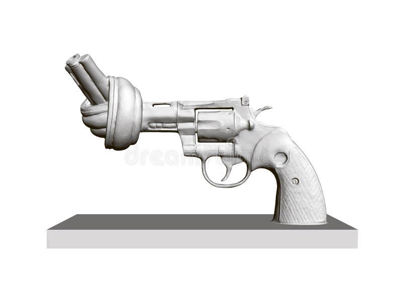Estatua del revólver con el barril torcido, no a la violencia 3d Revólver poligonal en fondo blanco aislado monumento stock de ilustración