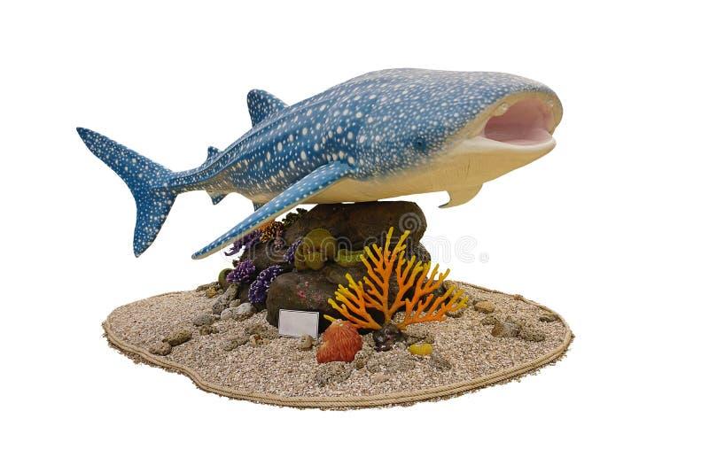 Estatua del tiburón de ballena para la campaña sobre la trayectoria de recortes de cogida del fishwith imagen de archivo libre de regalías