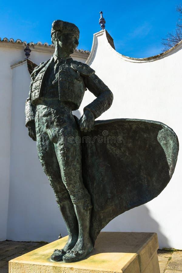 Estatua del torero en Ronda, España imágenes de archivo libres de regalías
