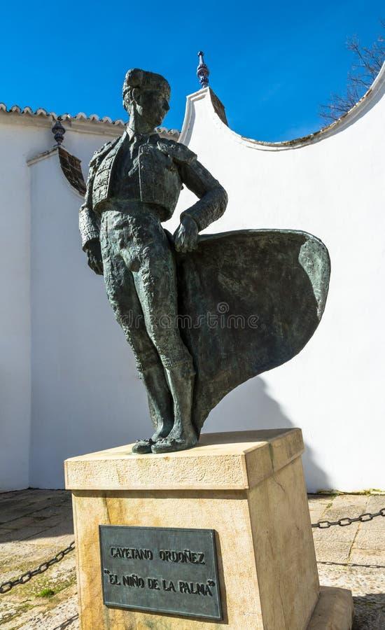 Estatua del torero en Ronda, España imagen de archivo libre de regalías