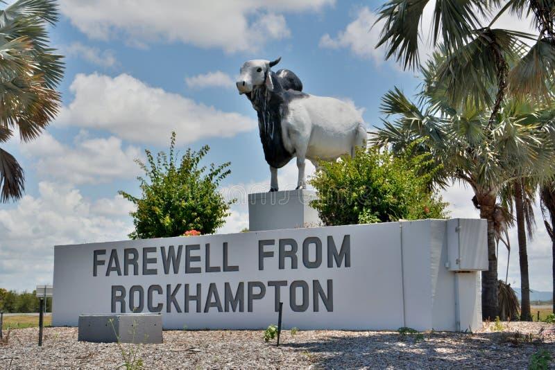 Estatua del toro del brahmán en Rockhampon, Queensland, Australia imágenes de archivo libres de regalías