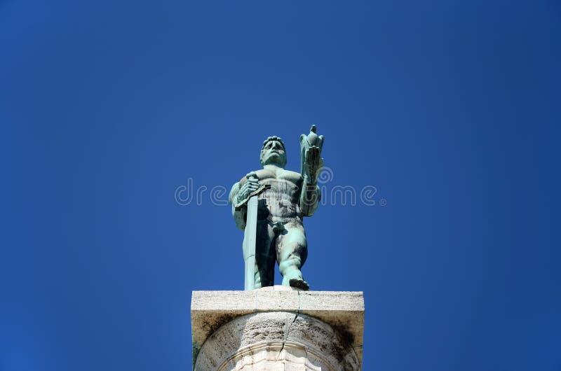 Estatua del vencedor (Pobednik), Belgrad, Serbia imagen de archivo libre de regalías