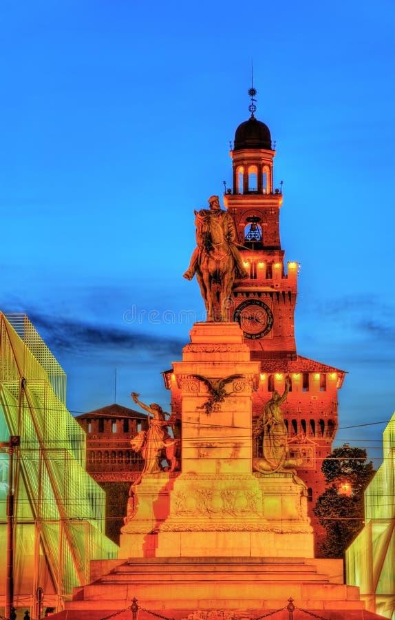 Estatua ecuestre de Garibaldi en Milán imagen de archivo libre de regalías