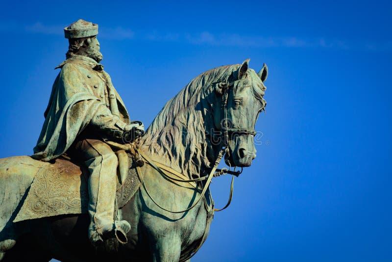 Estatua ecuestre de Giuseppe Garibaldi fotografía de archivo libre de regalías